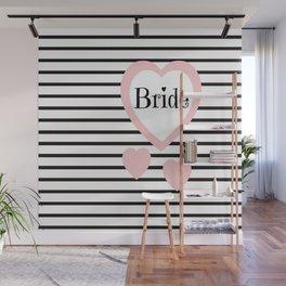 Bride Pink Hearts Black Stripes Wedding Love Wall Mural