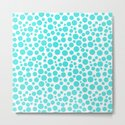Turquoise polka dots on a white background . by fuzzyfox85