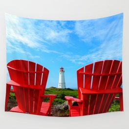 Lighthouse and chairs in Red White and Blue Wall Tapestry