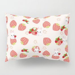 Bunnies and Strawberries Pillow Sham