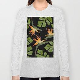 Srelitzia and Monstera black Long Sleeve T-shirt