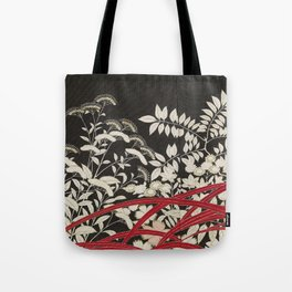 Kuro-tomesode with a Pair of Pheasants in Hiding (Japan, untouched kimono detail) Tote Bag