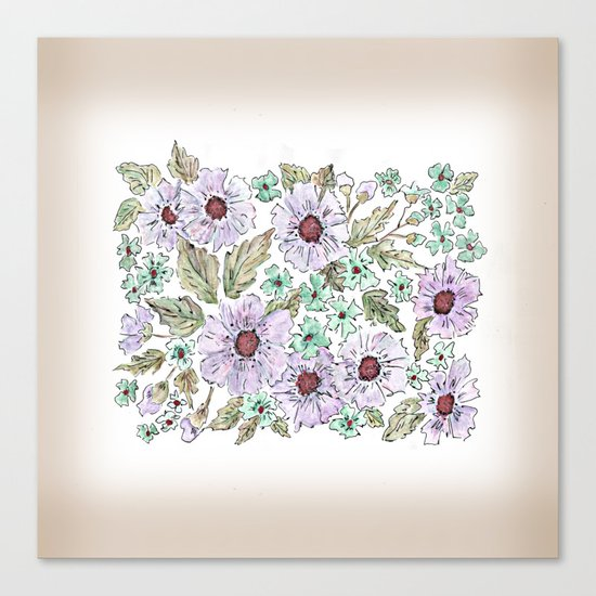 Colorful floral pattern . Beige background . Canvas Print