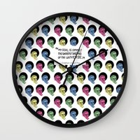 stephen king Wall Clocks featuring stephen hawking by Aya Rosen