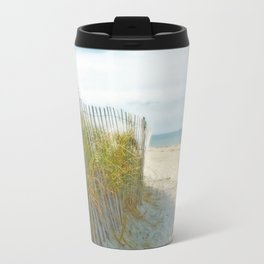 Sandy Beach, Ocean, and Dunes Travel Mug