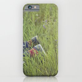 Couple lying in the grass iPhone Case