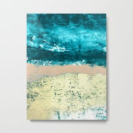 Darling: a bold, abstract, mixed-media piece in gold, teal, and pink Metal Print