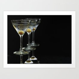 Three Martini's and three olives.  Art Print