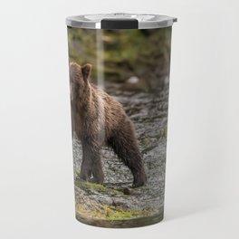 Brown Bear on River Side Travel Mug