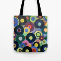 record Tote Bags featuring Record High by Femi Ford