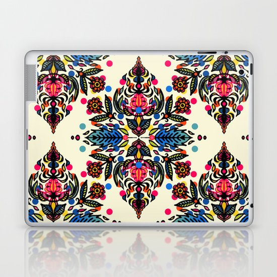 Bright Folk Art Pattern - hot pink, orange, blue & green Laptop & iPad Skin