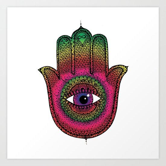 Hamsa: Made by a rainbow Art Print