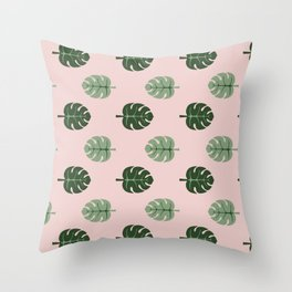 Tropical leaves Monstera deliciosa green and pink #monstera #tropical #leaves #floral #homedecor Throw Pillow