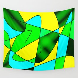 ABSTRACT CURVES #2 (Greens, Light Blue & Yellow) Wall Tapestry