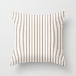 Mattress Ticking Narrow Striped Pattern in Dark Brown and White Throw Pillow
