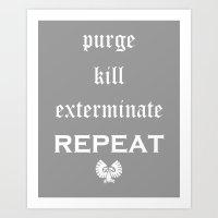warhammer Art Prints featuring Purge-kill-exterminate white, Warhammer 40K by ZsaMo Design