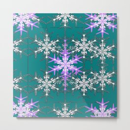 Teal and Violet Snowflakes Abstract  Metal Print