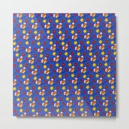 Hammy Pattern in Dark Blue Metal Print