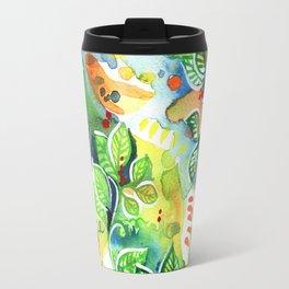 Watercolor Rainforest Leaf Travel Mug