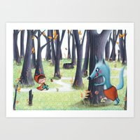 red riding hood Art Prints featuring Red Riding Hood by Antoana Oreski Illustration