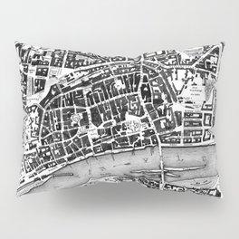 Vintage Map of Frankfurt Germany (1845) BW Pillow Sham