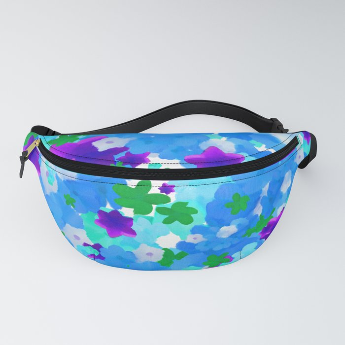 Bright Floral Pattern with Girly Flowers in Preppy Blue and Purple Fanny Pack