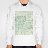 houston Hoodies featuring Houston Map Blue Vintage by City Art Posters