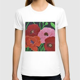 Four Poppies and Seed Pods, acrylic, 2010 T-shirt