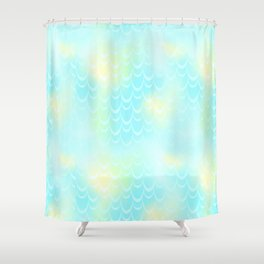 Mint Blue and Yellow Mermaid Tail Abstraction. Magic Fish Scale Pattern Shower Curtain