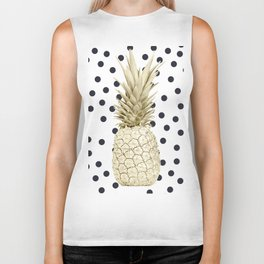 Gold Pineapple on Black and White Polka Dots Biker Tank