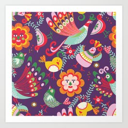 Scandinavian folkart birdies | purple Art Print