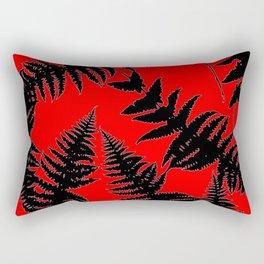 Chinese Red Oriental Style Black Ferns Rectangular Pillow
