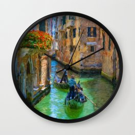 Classical picture of the venetian canals with gondola. Wall Clock