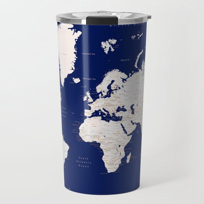 "Navy blue and light brown detailed world map ""Gavin"" Travel Mug"