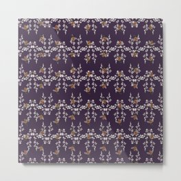 Tiny Bee Pattern Metal Print