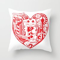 onesie Throw Pillows featuring isabelle by Gray
