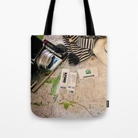 vintage map Tote Bags featuring Map by Carmen Moreno Photography
