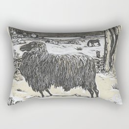 Sheep in a landscape , Richard Roland Holst, 1878 Rectangular Pillow