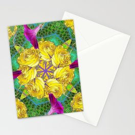 MYSTIC YELLOW ROSES MORNING GLORIES GREEN ART Stationery Cards