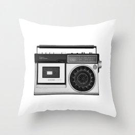 cassette recorder / audio player - 80s radio Throw Pillow