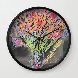 flowers on black background Wall Clock
