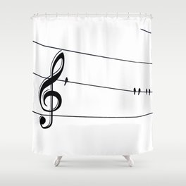 Natures Choir Birds on Wire Music Note A611W Shower Curtain