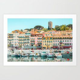 Cannes City Print, Luxurious Yachts And Boats, French Riviera, Travel Print, City Marina Port In France Poster, Colored Houses Photography, Colorful Home, Home Decor, Wall Art Print Art Print