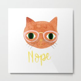 Nope - Hipster Cat with Glasses - Illustration Metal Print