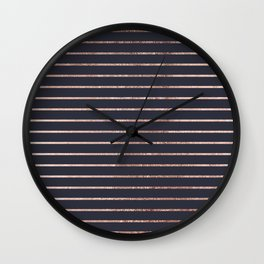 Elegant Chic Rose Gold Stripes and Navy Blue Wall Clock