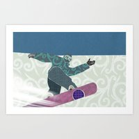 snowboarding Art Prints featuring Snowboarding by Aquamarine Studio