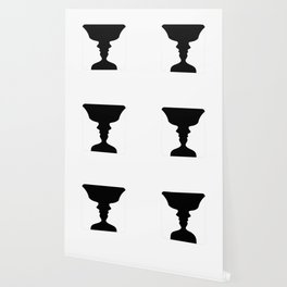 Two faces side by side- illusion of a vase also called Rubins vase Wallpaper