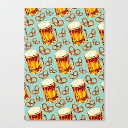 Beer & Pretzel Pattern Canvas Print