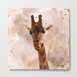 Watercolor Giraffe Metal Print