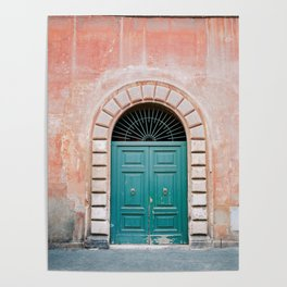Turquoise Green door in Trastevere, Rome. Travel print Italy - film photography wall art colourful. Poster